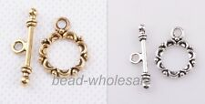 DIY Golden Tibetan silver Lacework Circle Toggle Clasps Making Jewelry Findings