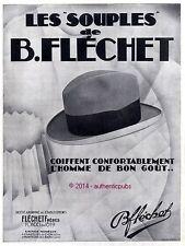 PUBLICITE CHAPEAUX SOUPLES B. FLECHET POUR HOMME DE 1929 FRENCH AD PUB RARE HAT
