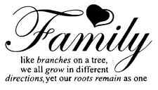 Family Like Branches on a tree vinyl lettering wall quotes home art decor