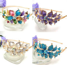 Hot Wholesale 4 pieces elegant rhinestone big flowers metal  headband hair band