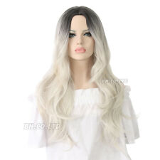 New Women 70cm 28 Inches Mixed Grey Dark Long  Curly Party Wig for Halloween