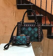 Montana West American Bling Embroidery Rhinestone Concealed Carry Handbag+Wallet