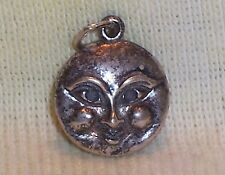 VINTAGE Sterling Silver MAN in the MOON FACE Charm 1.7 grams