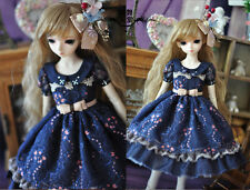 1/3 bjd sd13/sd10 girl outfit blue color doll dress set dollfie luts #SD120-L