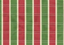 Designer Fabric Green Off White Rose Striped Cotton  Drapery Upholstery