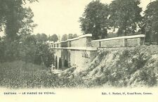 Reproduction photo d'une carte postale du viaduc du vicinal à Casteau