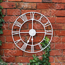 NEW LARGE 50CM WHITE METAL ROUND GARDEN OUTDOOR WALL CLOCK VINTAGE ROMAN NUMERAL