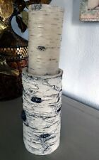 Faux White Birch Bark Log Candleholder With Faux Birch Bark Flameless Candle