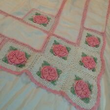 VIntage Shabby Chic Hand Crochet White Pink Rosettes Table Cloth 60'x 45'