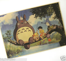 Japanese Anime TOTORO Cartoon Roles Brown Paper Old Retro Decorate Poster