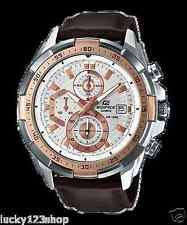 EFR-539L-7A White Casio Edifice Men's Watches New Model 100M Leather Band New