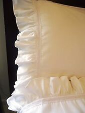 RUFFLE &  LACE Sheet Set QUEEN 4pc WHITE 100% Cotton Sateen 400TC NEW by UtaLace