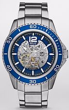 Relic Men's Blake Silver-Tone Skeleton Dial Blue Bezel Bracelet Watch