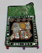 Elephant Bags Thai Handmade Cotton Mobile Phone Strap Bags Crafts Purses Green
