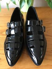 Ladies Truffle Collection black polished pointed buckle shoes UK 5 EU 38 NEW