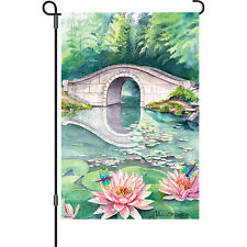 "Water Lily Flower Dragonfly Pond Bridge Garden Flag Small 18"" x 12"""