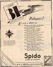 SPIDO HUILE OIL PALMARES 1928 BOL D OR LA BAULE PARIS PUBLICITE 1929 FRENCH AD