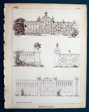Original 1865 Engraving Sloan Architecture Mansion 3 Fencing Front Views
