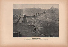 1903 HISTORICAL GERMAN PRINT ~ THE GREAT CHINESE WALL ~ GREAT WALL OF CHINA