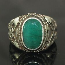 Silver Men Ring Genuine Emerald Stone Ancient Design Handmade Size 8.25