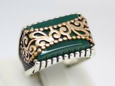 Turkish Handmade  SNOW BRAND 925 Sterling Silver Emerald Mens Ring Sz 10