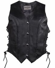WOMEN'S MOTORCYCLE BIKER CLASSIC BRAIDED SIDE LACE LEATHER VEST 2 GUN POCKETS