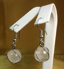 925 Sterling Silver White Cloudy Quartz Dangling Earrings