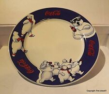 1998 Vintage Coke / Coca Cola Polar Bear Pottery Dinner Plate Collector White