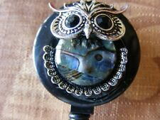 Mother of Pearl Abalone Hoot Owl ID Badge Name Tag Key Card Holder Reel Lanyard