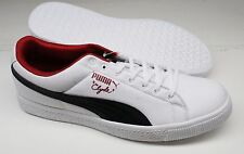 Mens Puma® 355955-04 Clyde Canvas Leather White/Black Chili Pepper Shoes S