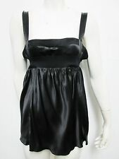 Nwt $948 Ysl, Yves Saint Laurent Women's Black Sleeveless 100% Silk Top 40/4