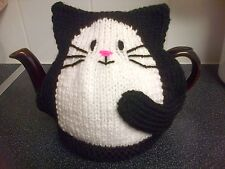 hand knitted black cat tea cosy large 2 pint teapot