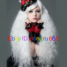 Hot Sell! Lolita Popular fluffy long curly white Cosplay wig + Free wig cap