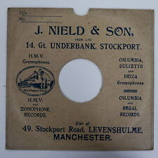 """78rpm 10"""" card gramophone record sleeve / cover J NIELD & SON , MANCHESTER"""