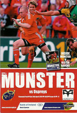 Munster v Ospreys 24 Apr 2010 Thomond park, Limerick RUGBY PROGRAMME