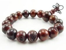 Stretchy Tibetan 17 12mm Red Sandalwood Carved Buddha Prayer Beads Mala Bracelet