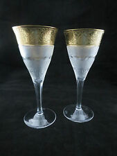 Pair Moser Crystal Splendid Cut Large Wine Glasses Goblets 8 3/4 Inches 22cm