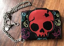RARE Original Emily The Strange Skull Head Leather Wallet With Chain WOW! LOOK!