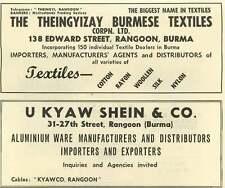 1953 Theingyizay Burmese Textiles Edward Street Rangoon U Kway Shein Ad