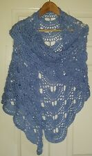 handmade crochet shawl, scarf with sequins - large, blue