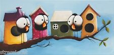 Original acrylic painting modern art canvas whimsical bird houses SALE PRICE