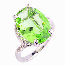 Oval Cut Green Amethyst & White Topaz AAA Gemstone Fashion Silver Ring Size 10