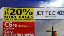 JET TEC BLACK 17 ml COMPATIBLE INKJET CARTRIDGE C6PB for CANON BCI-6BK/BCI-3ePBK