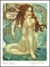 David Bekker C4 Exlibris 1999 Erotic Nude Nudo Woman Cartography Globus Map 701