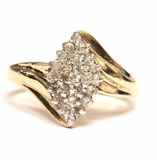 10k yellow gold .25ct SI1 J diamond cluster ring band 2.5g estate womens vintage