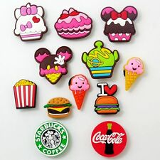 12pcs Chips Ice Cream Coke Hamburger Shoe Charms Fit Croc/Jibbitz Bracelets Gift