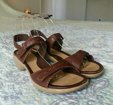 ECCO  Brown Leather Ankle Velcro Strap Sandals Wms US 7-7.5 / EU 38 Low Heel 2""
