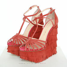 CHARLOTTE OLYMPIA suede fringe winona platform wedges fringed shoes 40/10 NEW