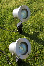 Set of 2 Low Voltage Aluminium Spot Lights Complete With Transformer and Cable