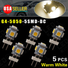 5X Warm White G4(bi-pin)5 SMD LED RV Home Garden Marine Cabinet Lamp Light DC12V